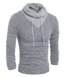 Personality Drawstring Turtleneck Color Block Spliced Long Sleeves Men's Slimming Thicken Sweater - LIGHT GRAY