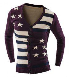 Vogue Slimming V-Neck American Flag Jacquard Color Block Men's Long Sleeves Thicken Cardigan - PURPLISH RED