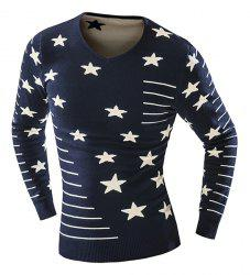 Thicken Slimming V-Neck Star Stripes Intarsia Color Block Long Sleeves Men's Vogue Sweater -