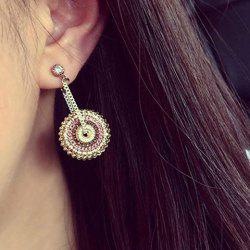 Pair of Bohemian Style Rhinestone Round Earrings For Women