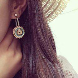 Pair of Bohemian Style Rhinestone Round Earrings For Women -