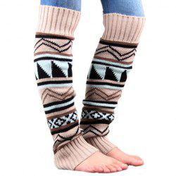 Pair of Chic Tribal Geometric Pattern Knitted Leg Warmers For Women