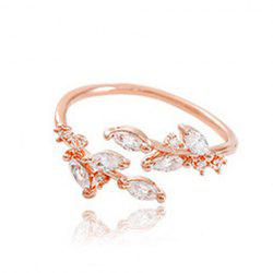 Chic Rhinestone Tree Leaf Cuff Ring For Women - ROSE GOLD