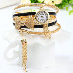 Ailisha Multilayer Quartz Chain Watch with Pendants Bowknot for Women