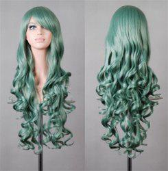 Assorted Color Harajuku Long Side Bang Fashion Fluffy Wavy Synthetic Cosplay Wig For Women - MINT GREEN