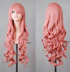 Assorted Color Harajuku Long Side Bang Fashion Fluffy Wavy Synthetic Cosplay Wig For Women - LIGHT PINK