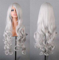Assorted Color Harajuku Long Side Bang Fashion Fluffy Wavy Synthetic Cosplay Wig For Women - SILVER WHITE