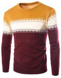 Color Block Spliced Rhombus Jacquard Slimming Round Neck Long Sleeves Men's Cashmere Blend Sweater - YELLOW