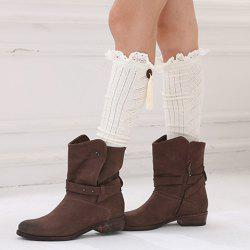 Pair of Chic Tassel Pendant and Lace Edge Embellished Knitted Stockings For Women