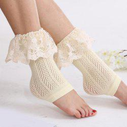 Pair of Chic Lace Brim Hollow Out Herringbone Foot Step Boot Cuffs For Women -