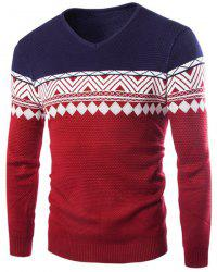 Color Block Rhombus Wavy Stripes Jacquard V-Neck Long Sleeves Slimming Men's Cashmere Blend Sweater