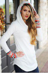 Chic Hooded Long Sleeve Printed Women's Hoodie -