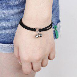 Faux Leather Tiny Bell Bracelet -