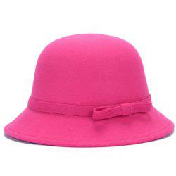 Chic Lace-Up and Bar Bowknot Felt Bowler Hat For Women - COLOR ASSORTED