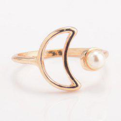 Faux Pearl Moon Cuff Ring - GOLDEN