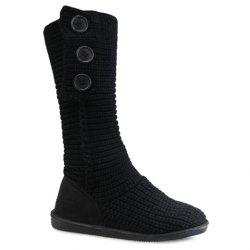 Stylish Knitting and Button Design Women's Snow Boots - BLACK