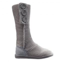Stylish Knitting and Button Design Women's Snow Boots - GRAY