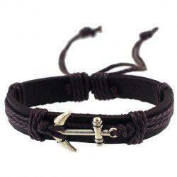 Vintage Anchor Faux Leather Bracelet -