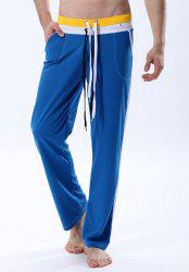 Personality Double Drawstring Waist Striped Spliced Color Block Straight Leg Men's Fitted Yoga Pants -