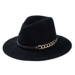Chic Hollow Out Chain Strappy Embellished Felt Jazz Hat For Women - BLACK