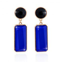 Rectangle Faux Gemstone Drop Earrings -