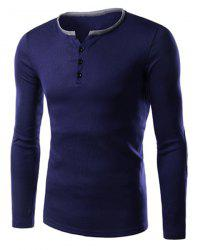 Single-Breasted Color Block Applique Slimming Round Neck Long Sleeves Men's T-Shirt -