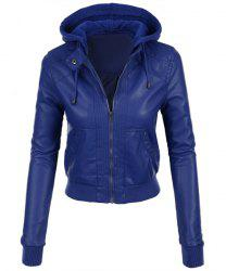 Stylish Hooded Long Sleeve Solid Color Faux Leather Spliced Women's Jacket -