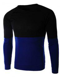 Classic Color Lump Splicing Slimming Round Neck Long Sleeves Men's Vogue T-Shirt -