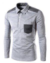One Patch Pocket Color Block Splicing Slimming Turn-down Collar Long Sleeves Men's Polo T-Shirt -