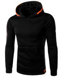 Color Spliced Zipper Embellished Front Pocket Slimming Hooded Long Sleeves Men's Hoodie