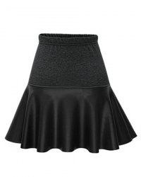 Trendy Elastic Waist PU Leather Spliced Skirt For Women