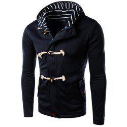 Slimming Striped Hooded Inclined Patch Pocket Horn Button Long Sleeves Men's Vogue Hoodie - BLUE