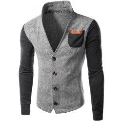 PU-Leather Spliced Patch Pocket Zig-Zag Pattern Hit Color Stand Collar Long Sleeves Men's Slimming Jacket - GRAY