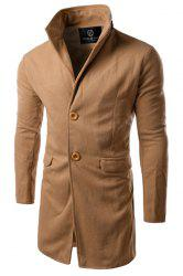 Slimming PU-Leather Spliced Stand Collar Flap Pocket Long Sleeves Men's Woolen Blend Trench Coat -