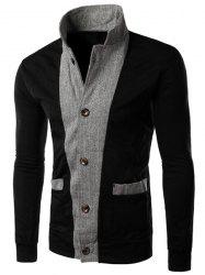 Color Block Zig-Zag Spliced Stereo Patch Pocket Slimming Stand Collar Long Sleeves Men's Jacket -