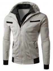 Multi-Zipper Patch Pocket Rib Spliced Hooded Long Sleeves Slimming Men's Thicken Faux Twinset Hoodie - LIGHT GRAY L