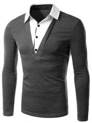 Classic Faux Twinset Color Block Slimming Shirt Collar Long Sleeves Men's Casual T-Shirt -