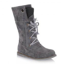 Casua Knitting and Lace-Up Design Women's Boots - GRAY