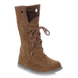 Casua Knitting and Lace-Up Design Women's Boots - BROWN