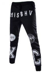 Lace-Up Letters and Basketball Print Beam Feet Slimming Men's Pants -