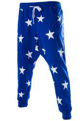 Lace-Up Stars Print Low-Crotch Beam Feet Slimming Men's Nine Minutes of Pants - BLUE