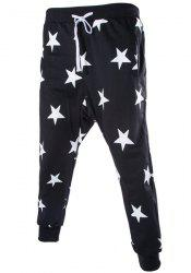 Lace-Up Stars Print Low-Crotch Beam Feet Slimming Men's Nine Minutes of Pants - BLACK