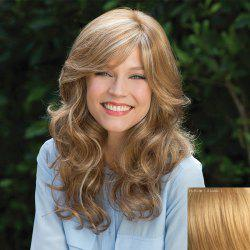 Towheaded Wavy Capless Stunning Long Inclined Bang Human Hair Wig For Women - BLONDE