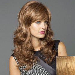 Towheaded Wavy Capless Attractive Long Side Bang Human Hair Wig For Women -