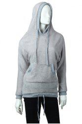 Fashion Hooded Solid Color Batwing Long Sleeves Loose-Fitting Blended Women's Hoodie -