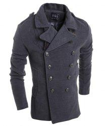 Turn-Down Collar Double Breasted Long Sleeve Epaulet Design Men's Woolen Jacket - DEEP GRAY