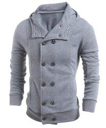 Turn-Down Collar Double-Breasted Long Sleeve Thicken Men's Jacket - LIGHT GRAY 2XL