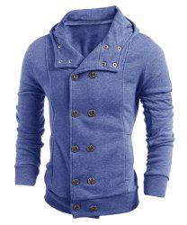 Turn-Down Collar Double-Breasted Long Sleeve Thicken Men's Jacket - BLUE M