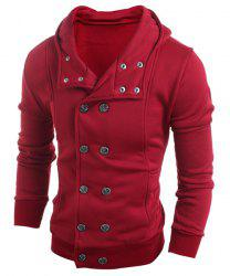 Turn-Down Collar Double-Breasted Long Sleeve Thicken Men's Jacket -