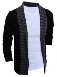 Turn-Down Collar Color Block Splicing Stripe Long Sleeve Men's Cardigan - BLACK